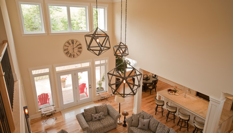 SawlorBuiltHomes Halifax NovaScotia CustomHome Custom Home 45  Living Room Open Concept From Above